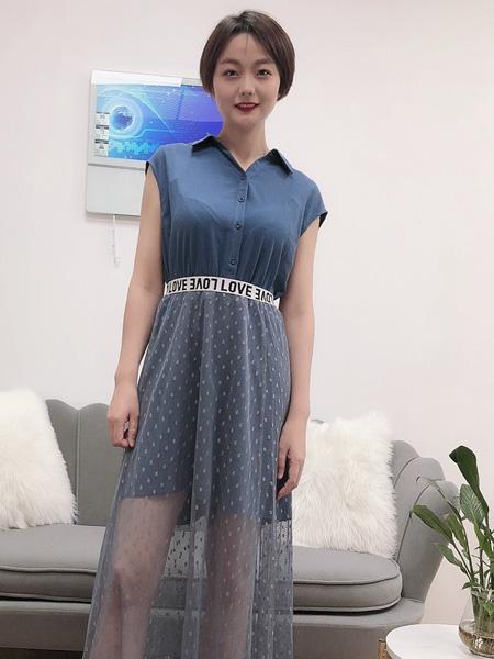 珂希莉女装品牌2020春夏翻领深蓝色衬衫网纱半裙