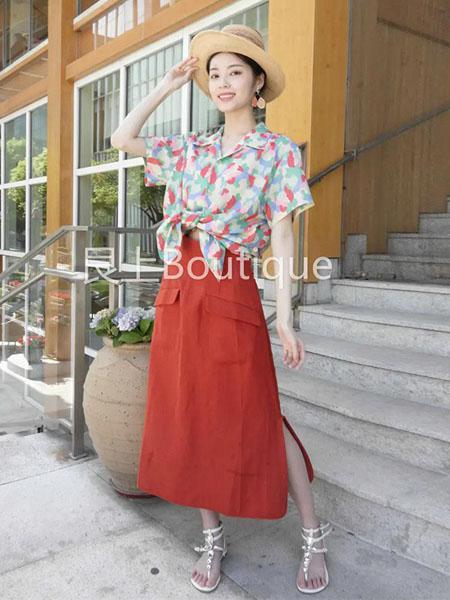 艮上女装品牌2020春夏翻领青红色衬衫