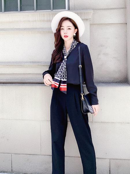 芊伊朵女装品牌2020秋季藏蓝色衬衫
