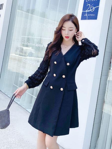 芊伊朵女装品牌2020秋季V领双排扣藏蓝色连衣裙
