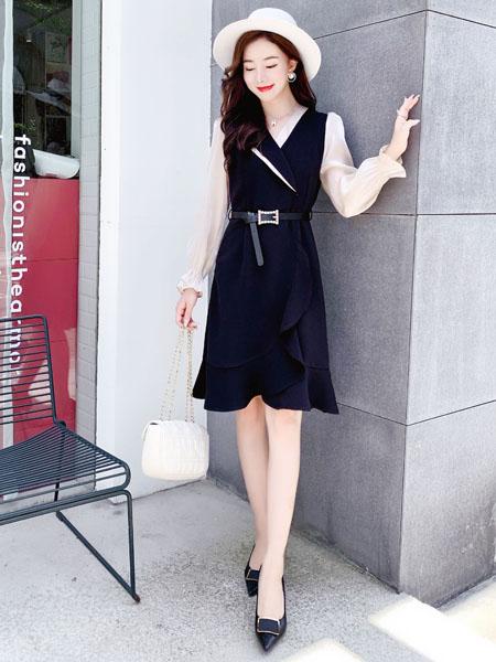 芊伊朵女装品牌2020秋季皮带收腰黑色连衣裙