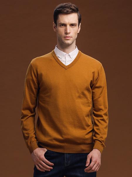 爱迪丹顿男装品牌2020秋冬V领深黄色针织衫