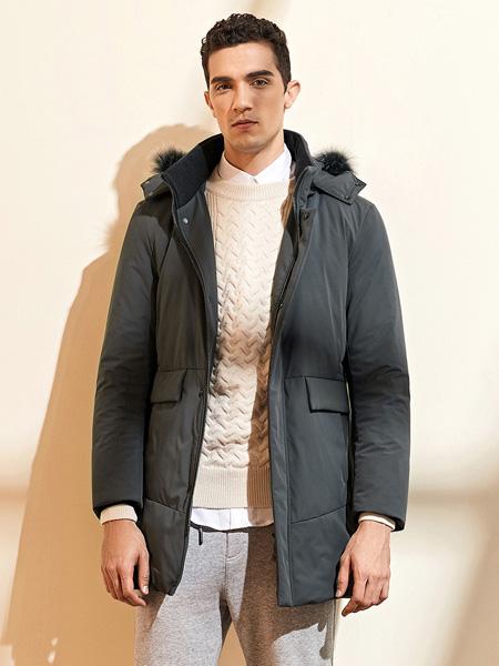 爱迪丹顿男装品牌2020秋冬深灰色保暖外套