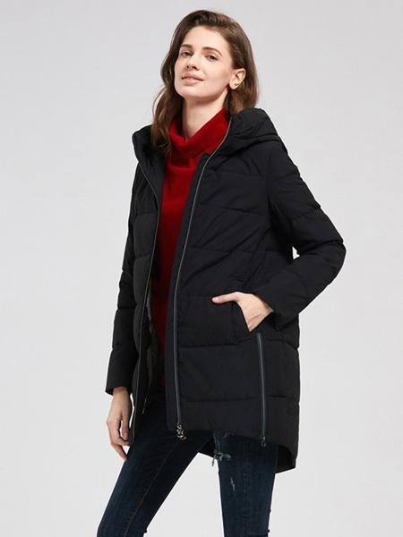 诗织女装品牌2020秋冬黑色连帽外套