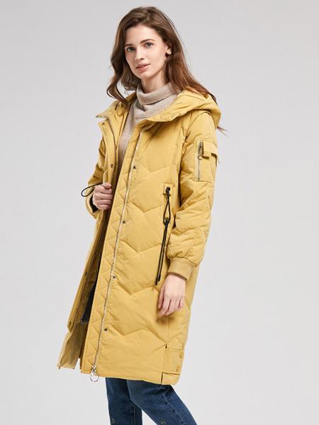 诗织女装品牌2020秋冬黄色中长款外套