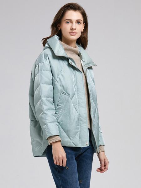 诗织女装品牌2020秋冬蓝色外套保暖
