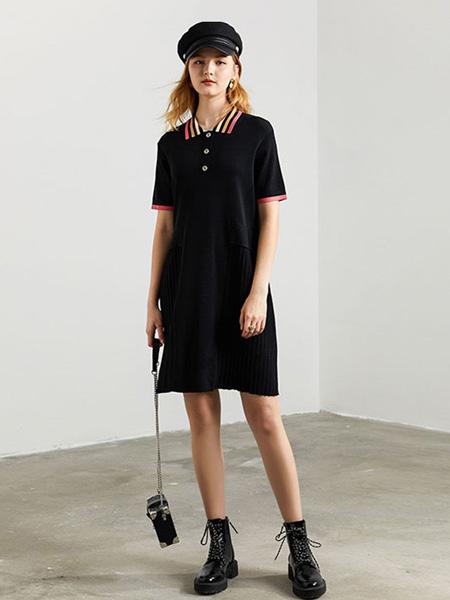 DFVC女装品牌2020秋季黑色修身连衣裙