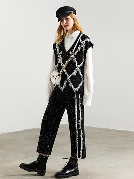 DFVC女装品牌2020秋季黑色V领针织背心