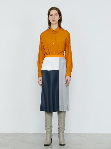 百思同创女装品牌2020秋冬橙色衬衫