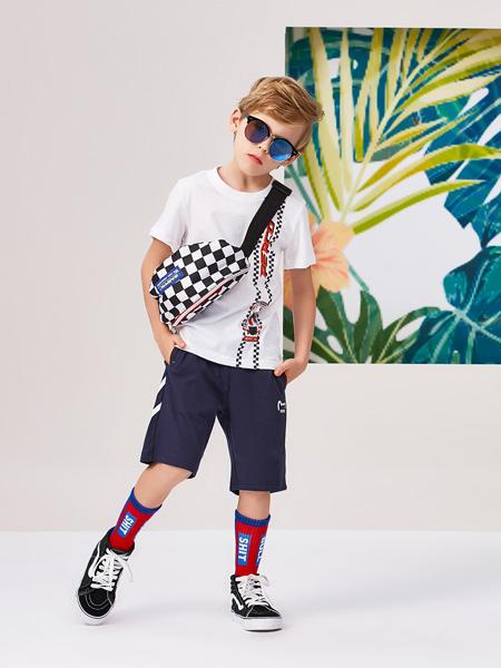 小猪班纳童装品牌2020夏季圆领白色T恤
