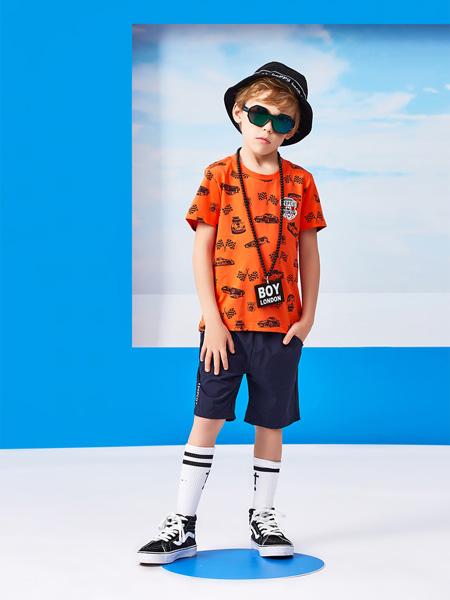 小猪班纳童装品牌2020夏季橙色T恤圆领