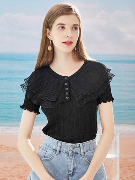 亦谷女装品牌2020春夏亦谷2020夏季新款圆领镂空纯色针织T恤百搭显瘦学生设计感女潮