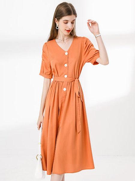 亦谷女装品牌2020春夏亦谷2020夏新款收腰珍珠扣泡泡袖连衣裙子法式复古显瘦V领女潮