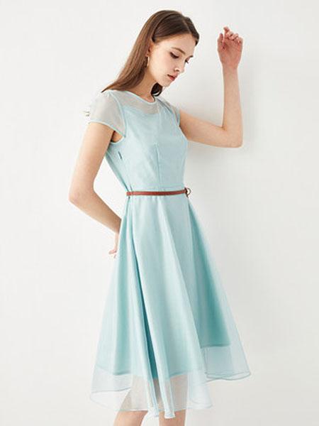 亦谷女装品牌2020春夏2020亦谷夏新款圆领初恋网纱连衣裙收腰显瘦气质超仙修身裙子女