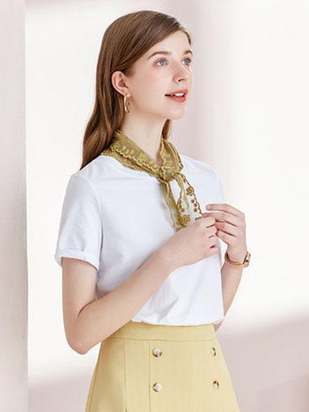 亦谷女装品牌2020春夏2020亦谷夏新款纯色亮丝修身短款T恤女时尚宽松流行短袖上衣