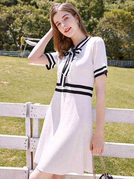 亦谷女装品牌2020春夏亦谷2020夏新款领口系带荷叶边针织连衣裙子收腰显瘦法式复古女