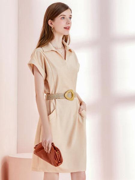 亦谷女装品牌2020春夏2020亦谷夏季新款撞色腰带简约风通勤连衣裙时尚短袖大插袋裙子女