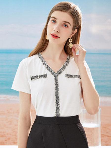 亦谷女装品牌2020春夏亦谷2020夏季新款小香风V领烫银亮片T恤百搭设计感小众宽松上衣女