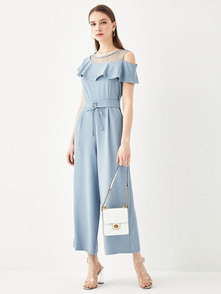 亦谷女装品牌2020春夏2020亦谷夏季新款韩版宽松轻薄蕾丝雪纺收腰连体裤高腰连衣长裤
