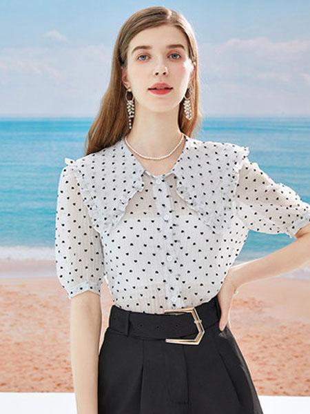 亦谷女装品牌2020春夏亦谷2020夏季新款波点娃娃领雪纺衫设计感小众学生显瘦上衣女潮