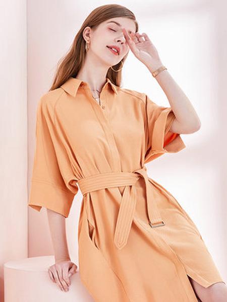亦谷女装品牌2020春夏2020亦谷夏新款宽松时尚修身衬衫收腰后背蝴蝶结小心机连衣裙
