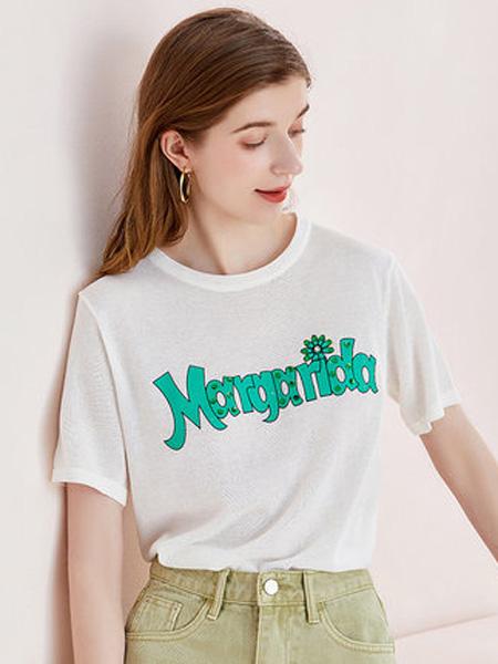 亦谷女装品牌2020春夏2020亦谷夏新款短款宽松ins潮百搭上衣字母胶印基本款时尚T恤女