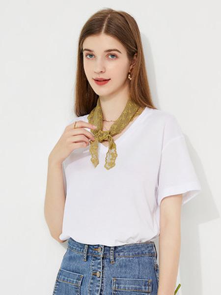亦谷女装品牌2020春夏亦谷2020夏季新款V领基本款纯色T恤宽松女设计感学生显瘦上衣潮