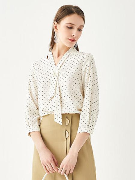 亦谷女装品牌2020春夏2020亦谷夏季新款宽松时尚波点女士短袖休闲七分袖系带雪纺衫