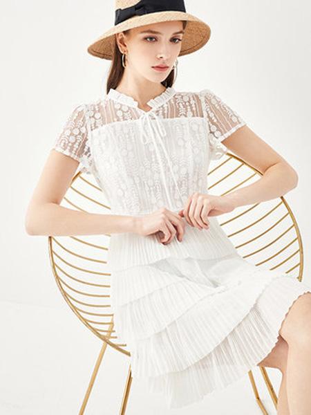 亦谷女装品牌2020春夏2020亦谷夏新款连衣裙圆领系带甜美雪纺女浪漫拼接蕾丝蛋糕裙