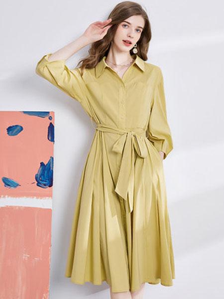 亦谷女装品牌2020秋季亦谷2020秋季新款简约衬衫款腰带连衣裙子显瘦收腰法式复古百搭女