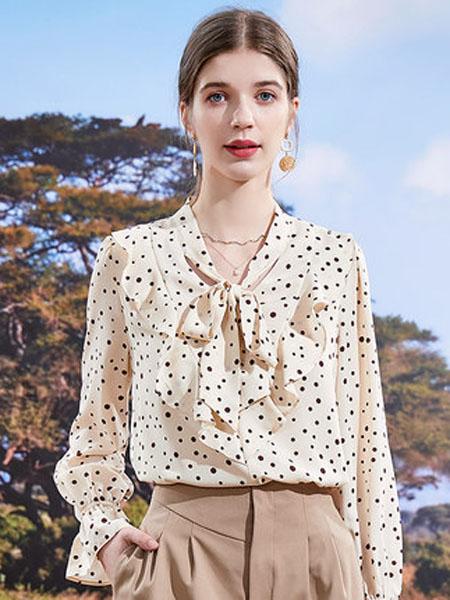 亦谷女装品牌2020秋季亦谷时尚潮流蝴蝶结系带上衣2020年新款秋季波点荷叶时尚雪纺衫潮