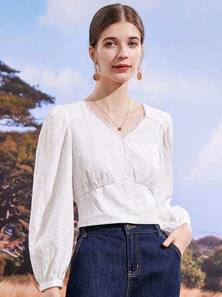 亦谷女装品牌2020秋季亦谷复古设计感长袖小衫2020年秋季新款女装V领修身法式ins上衣潮