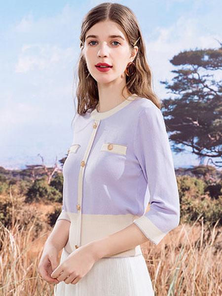 亦谷女装品牌2020秋季亦谷圆领复古小香风针织衫女秋季新款2020年简约时尚长袖上衣女