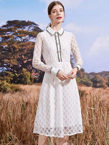 亦谷女装品牌2020秋季2020亦谷秋季新款雪纺飘逸轻熟风连衣裙小香风显瘦白色裙子女潮