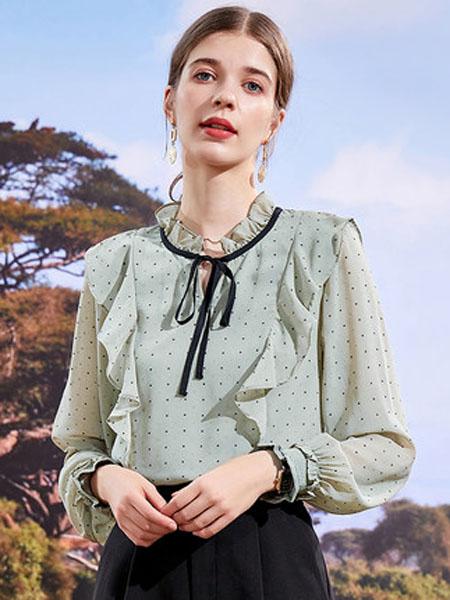 亦谷女装品牌2020秋季2020亦谷秋季新款撞色织带荷叶边洋气仙女印花雪纺衬衫气质波点