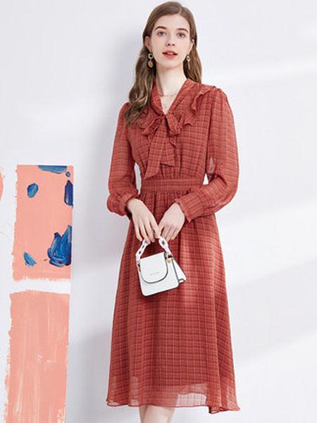 亦谷女装品牌2020秋季亦谷2020秋季新款雪纺格子印花连衣裙子收腰显瘦法式复古百搭飘带