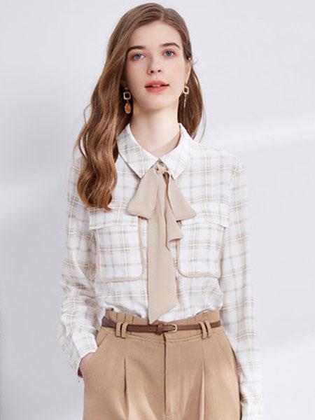 亦谷女装品牌2020秋季亦谷2020秋季新款格子撞色飘带雪纺衬衫百搭设计感小众复古港味