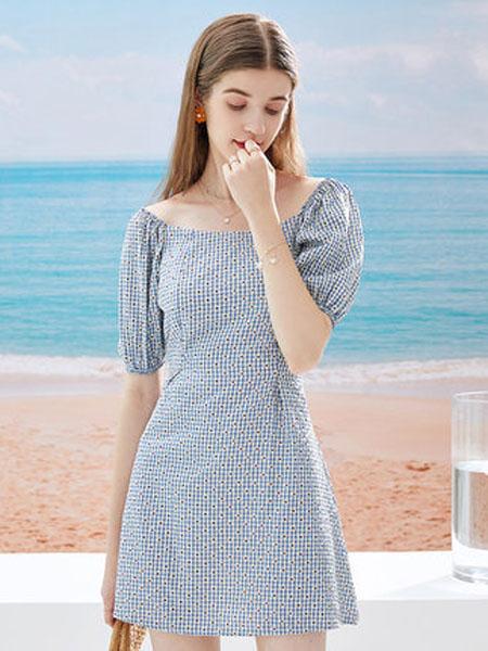 亦谷女装品牌2020秋季亦谷2020夏季新款大方领泡泡袖格子碎花连衣裙子收腰显瘦法式女