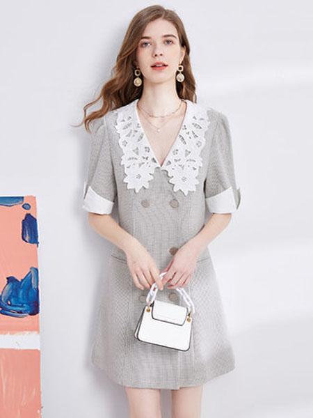 亦谷女装品牌2020秋季亦谷2020秋季新款格子绣花撞色领连衣裙显瘦气质女神范法式复古