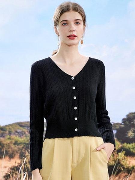 亦谷女装品牌2020秋季亦谷针织薄款长袖上衣女2020年秋季新款洋气V领宽松内搭开衫ins潮