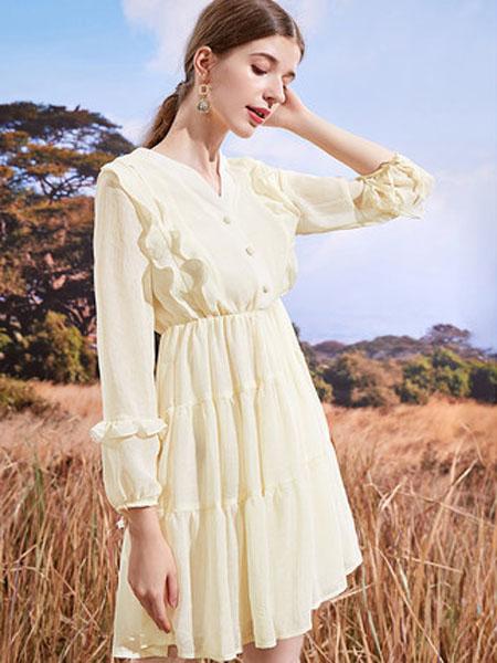 亦谷女装品牌2020秋季亦谷V领荷叶气质连衣裙ins女潮秋装2020年新款仙女超仙森系裙子