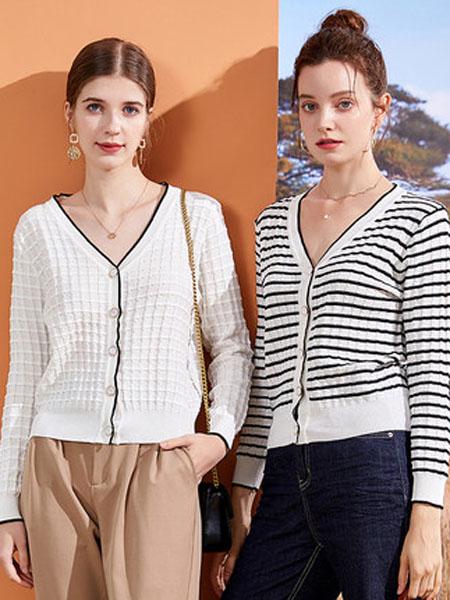 亦谷女装品牌2020秋季针织衫横纹上衣外套