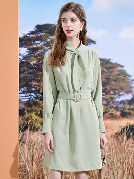 亦谷女装品牌2020秋季亦谷领结款衬衫裙子2020年秋季新款收腰休闲时尚通勤显瘦连衣裙潮