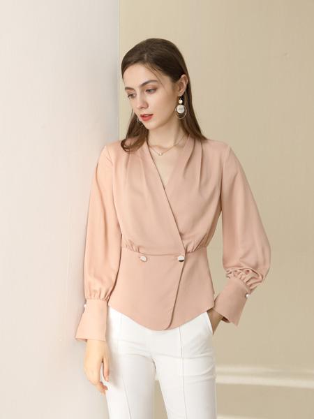 卓多姿女装品牌2020秋季粉色V领衬衫