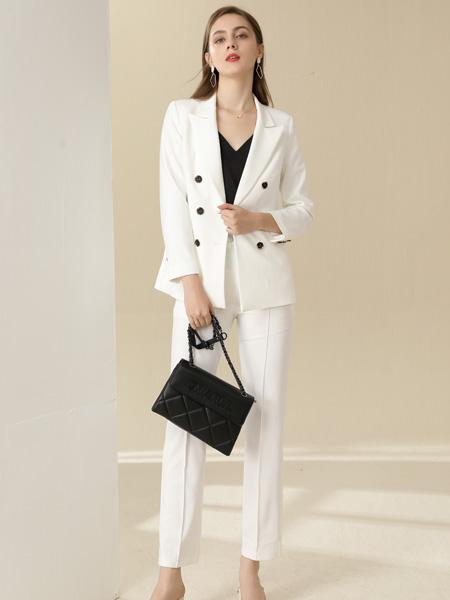 卓多姿女装品牌2020秋季白色西装套装