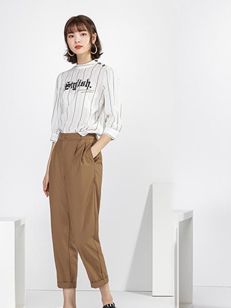 宋人女装品牌2020秋季字母白色T恤