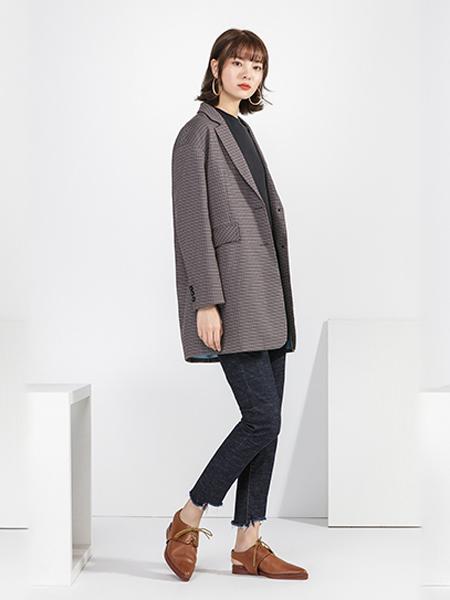 宋人女装品牌2020秋季灰色西装外套