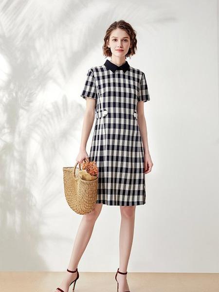哥邦女装品牌2020春夏大格纹黑白色连衣裙