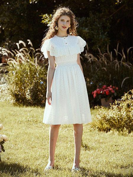 迷思概念女装品牌2020春夏圆领白色收腰连衣裙
