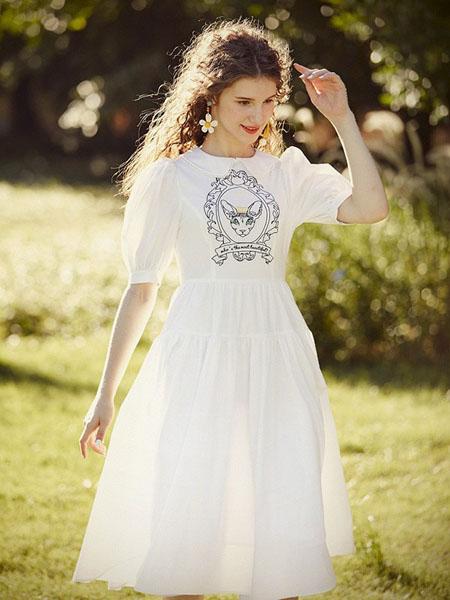 迷思概念女装品牌2020春夏圆领白色连衣裙